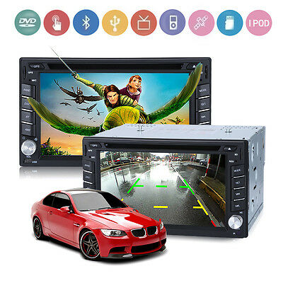 """6.2"""" 2 DIN HD GPS Navigation Car Stereo DVD Player Bluetooth With Rear Camera UK"""