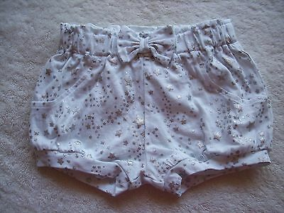 BNWNT Baby Girl's White & Silver Stars Cotton Knit Shorts Size 00