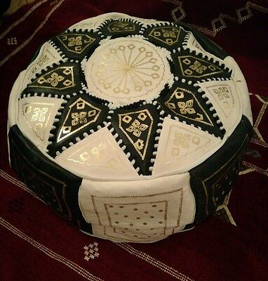 Moroccan Genuine Leather Large Pouffe Poufe Footstool New Handmade New Pouf
