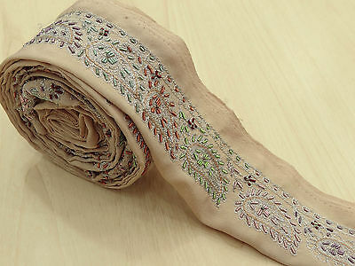 Vintage Indian Sari Border Embroidered Trim Sewing 1YD Beige Sarong Ribbon Lace