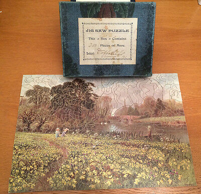 Vintage hand-cut wooden jigsaw with whimsy pieces - Daffodils - approx 300 pcs