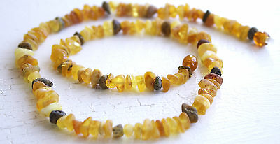 GENUINE UNPOLISHED   BALTIC AMBER HEALING NECKLACE FOR ADULTS 68 cm