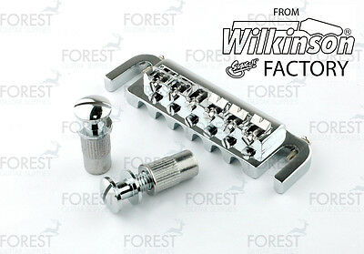BM-004, Wrap-around guitar bridge, combined bridge/tailpiece, chrome