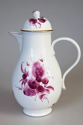 Fine Antique 18th Century Meissen Coffe Pot, Dot Period, Painted in Puce