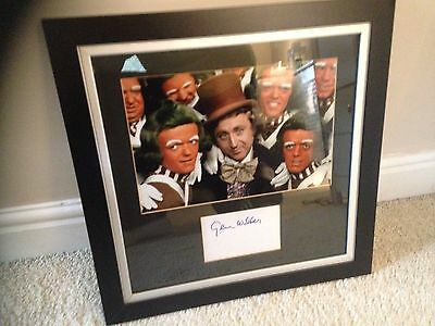 Large Framed White Card Signed By Gene Wilder Rare Willy Wonka