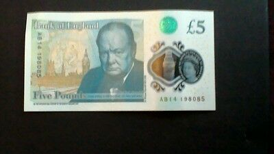 Bank Of England Polymer Plastic £5 Note Ab