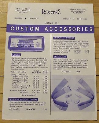 Original 1958 Rootes Custom Accessories Flyer 4 Pages Foreign Automobiles