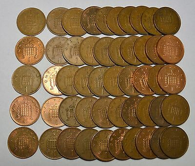 50 Great Britain One Pence Foreign Coins, Mixed Unsearched Dates