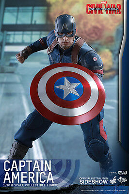 "Captain America Chris Evans Civil War Marvel 12"" Figur MMS350 Hot Toys"