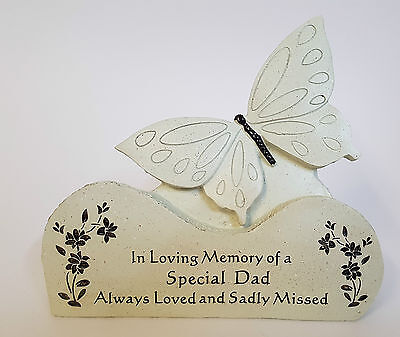 Special Dad Butterfly on a Rock Grave Ornament - Memorial Tribute