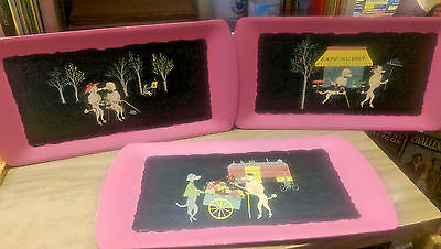 "Mid Century Kitsch Pink Poodle Trays ""The Romance of Fifi and Pepe""  Kentley"