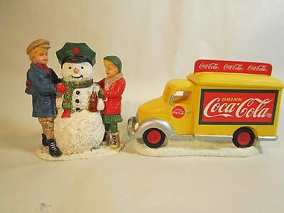 Coca Cola Town Square Accessories Yellow Delivery Truck & Thirsty the Snowman