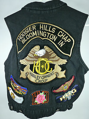 Harley Vest Owners Group Mens Denim with many nice Patches Sastanza