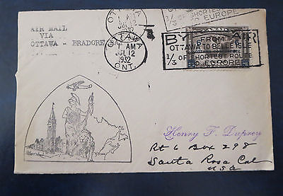 Canada Stamps---Ottawa To Bradore Bay First Flight Cover  07/12/1932