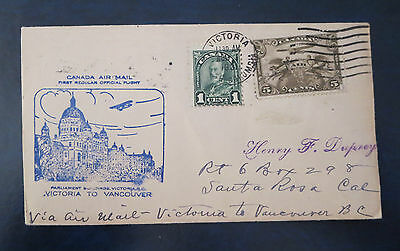 Canada Stamps---Victoria To Vancouver, Bc  First Flight Cover  08/1/1931