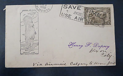 Canada Stamps---Calgary To Moose Jaw   First Flight Cover  03/03/1930