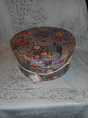 Ladies Hat Box Floral With Stamps & Butterflies 14 Round By 6-1/4