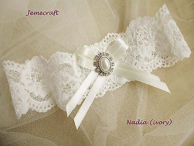 Wedding Garter 'nadia' Ivory Lace Pearl Crystal Vintage Style Bridal Gift