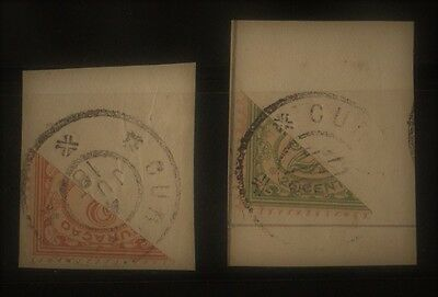 Curacao 1918- Bisect Stamps Scott Catalog #48-49 (Lot #46-58)