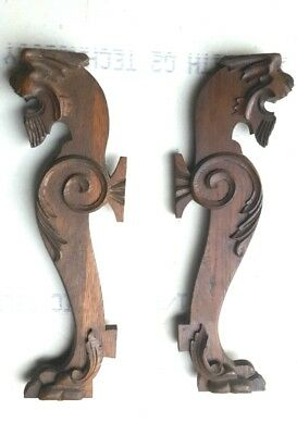 Vintage Lion Head Oak Corbels Architectural Accent Pieces Entryway Mantles