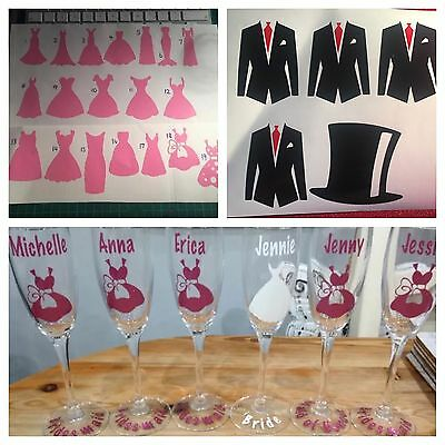 Vinyl Stickers To Make Your Own Glasses, Bridesmaid Gift ** FREE BRIDE Set**