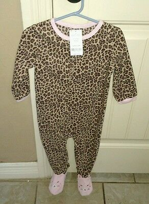 New Carter's Girls 1 Piece Pink Leopard Printed Fleece Footed Pajamas 24 months