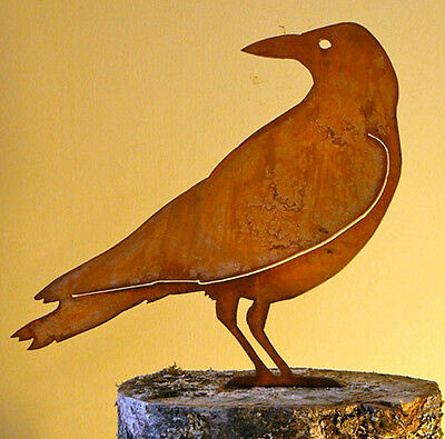 American Crow Cut Steel Yard or Garden Ornament Wary Crow Made in USA  Raven