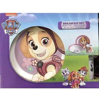 New Pink Paw Patrol 3Pc Ceramic Breakfast Set Porcelain Plate Mug Bowl Set