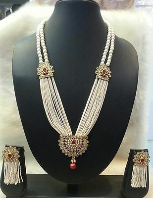 Indian Fashion Jewelry Bollywood Bridal Pearl CZ Polki Necklace Earrings Sets6