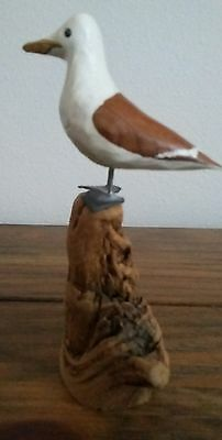 """Vintage Wooden 2.5"""" Seagull Bird Figurine Carved/Hand Painted on Driftwood base"""