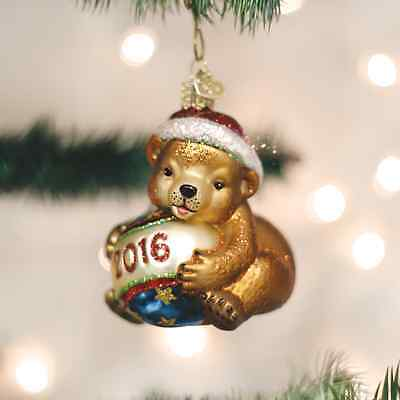New 2016 Old World Christmas 2016 Dated PLAYFUL CUB Ornament
