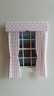 Dolls House Curtains Pink Clover In Laura Ashley  Fabric