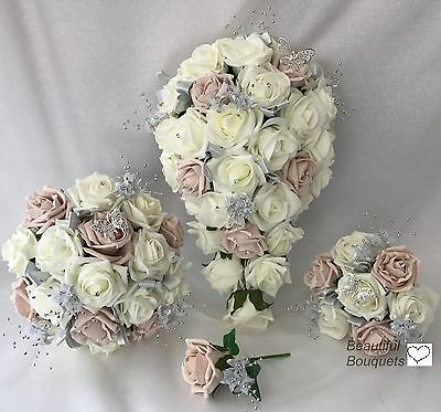 Wedding Flowers Ivory Rose Butterfly Bouquet Bride, Bridesmaid, Flower Girl Wand