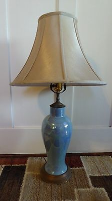 Vintage Blue Lusterware Glass with Art Deco Brass Base Table lamp