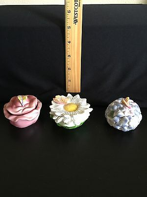 Lot of 3 Ceramic Flower Trinket Boxes With Butterflies