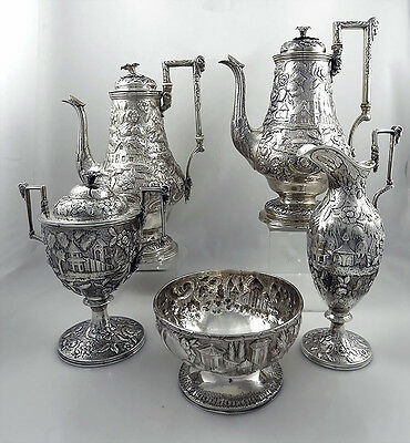 Coin Silver LANDSCAPE Tea and Coffee Set Bailey & Kitchen Philadelphia RAMS
