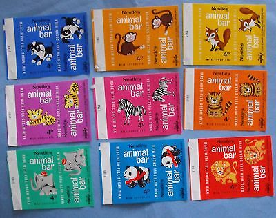 Vintage c1970s Nestle's chocolate bar wrappers ( 12 )