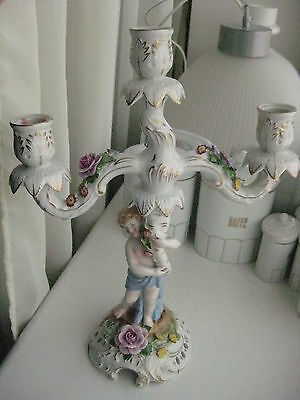 Antique German Porcelain Von Schierholz  3 Light Candelabra, Cherub