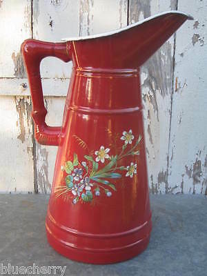 Antique FRENCH ENAMELWARE Red Floral BODY PITCHER Rare BAMBOO HANDLE VGC