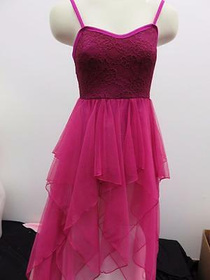 Dance Costume Small Adult Raspberry Lace Lyrical Cami Dress Solo Competition