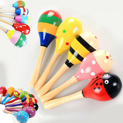 10pcs Funny Kids Baby Wooden Maracas Rattle Shakers Musical Educational Toys