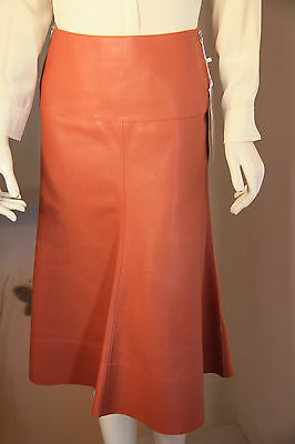 Gonna Pelle SPORTMAX di MAX MARA- Brown Leather  Skirt -Size 42