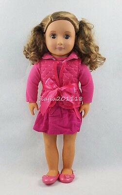 18'' BATTAT Our Generation American Girl Doll Brown Hair Rose Dress Skirt #52