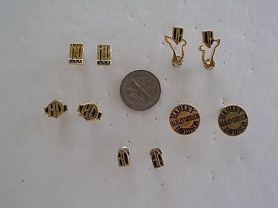 Harley Davidson Earrings Post Gold Toned Set Of 5 Offical Hd Product A-C-2