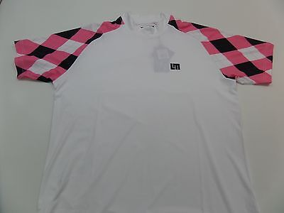 NWT $70 LOUDMOUTH PINK/BLACK ARGYLE Mock Neck Golf Shirt / Men's LARGE