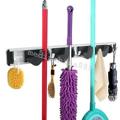 Mop Broom Holder Wall Mounted Organizer Brush Storage Hanger Rack Tool for Home