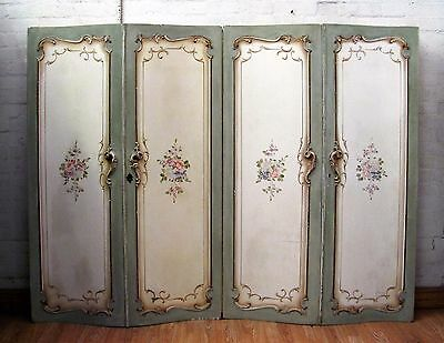 Stunning Antique Italian Rococo Floral Folding Screen - C1930