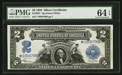 Fr. 258* 1899 $2 *star* Silver Certificate Pmg Choice Uncirculated-64Epq