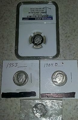 Lot of 4 silver dimes