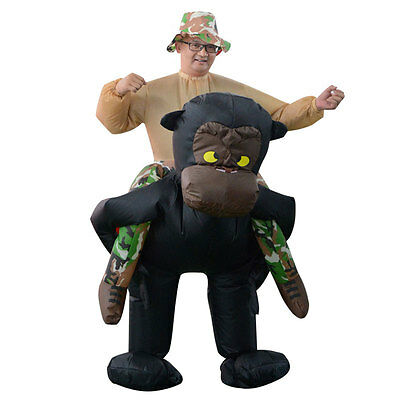 Inflatable Riding Gorilla Costume Funny Halloween Dress Toys For Adults Kids